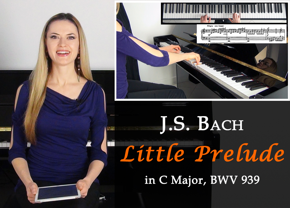 J.S. Bach - Little Prelude in C Major, BWV 939 (polyphonic piece). Piano Tutorial